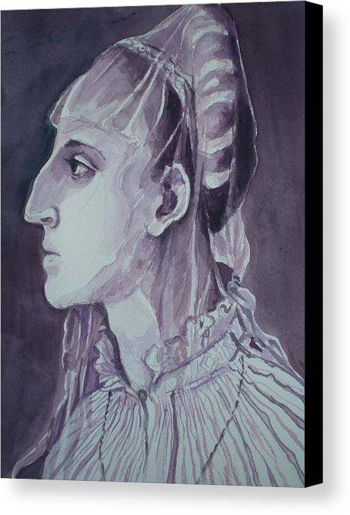 Woman's Head Canvas Print featuring the painting Study Of Laura Battiferri After Agnolo Bronzino C.1555 by Aleksandra Buha