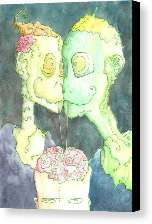 Zombie Canvas Print featuring the painting Such A Perfect Night by Jonathan Arras