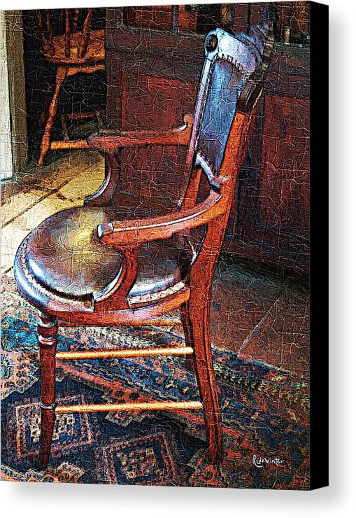 Antiques Canvas Print featuring the digital art Sunlight On Leather Chair by RC DeWinter