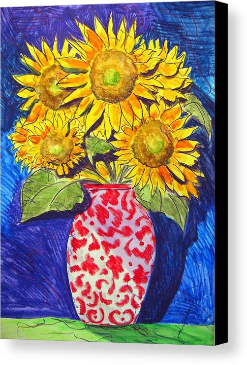 Sunflower Canvas Print featuring the painting Sunny Disposition by Jean Blackmer