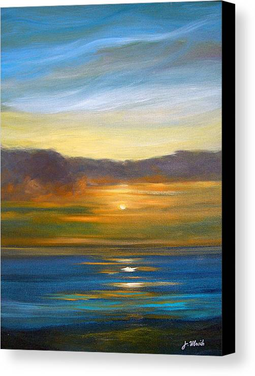 Seascape Canvas Print featuring the painting Sunset 9 by Jeannette Ulrich