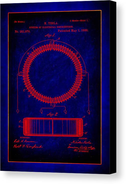 Patent Canvas Print featuring the mixed media System Of Electrical Distribution Patent Drawing 1a by Brian Reaves