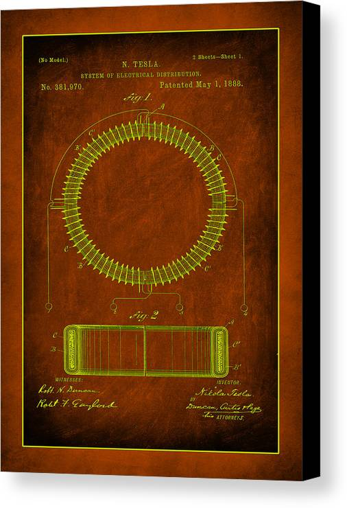 Patent Canvas Print featuring the mixed media System Of Electrical Distribution Patent Drawing 1e by Brian Reaves
