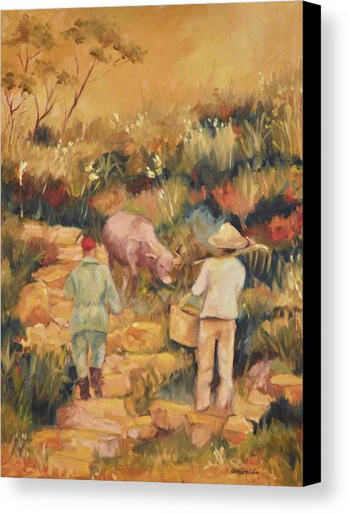 Water Buffalo Canvas Print featuring the painting Taipei Buffalo Herder by Ginger Concepcion