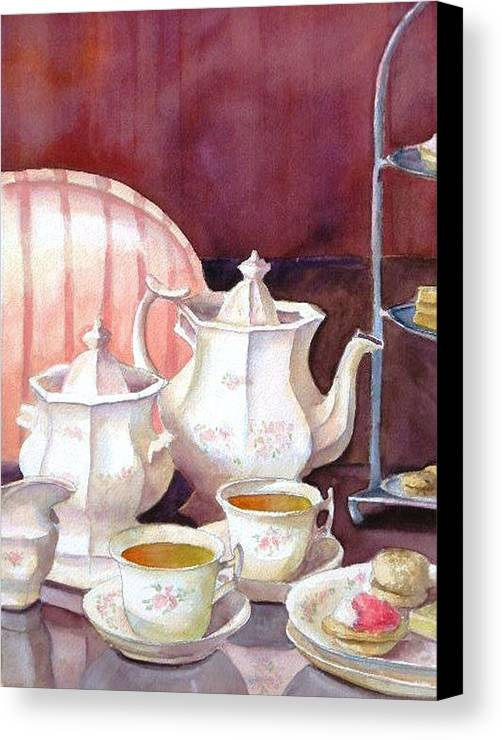 Tea Set Canvas Print featuring the painting Tea For Two by Dorothy Nalls