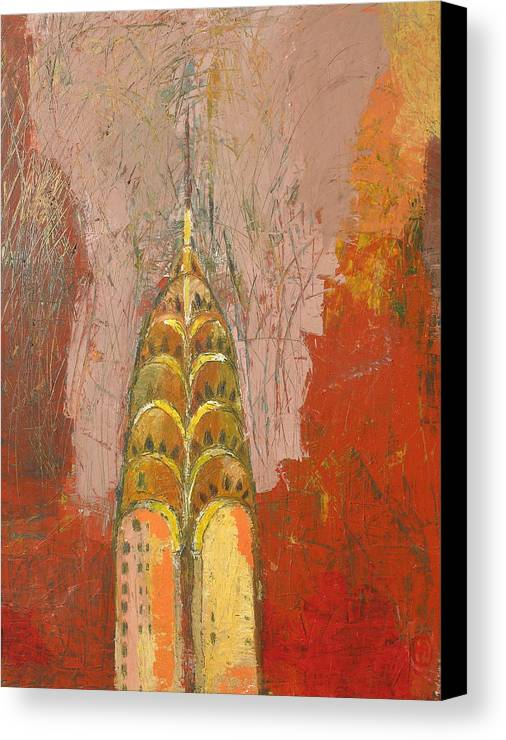 Abstract Cityscape Canvas Print featuring the painting The Chrysler In Motion by Habib Ayat