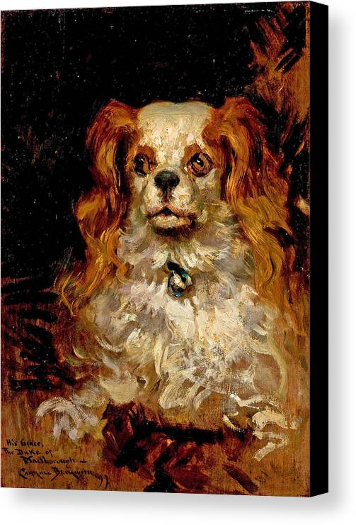 James Carroll Beckwith Canvas Print featuring the painting The Duke Of Marlborough. Portrait Of A Puppy by James Carroll Beckwith