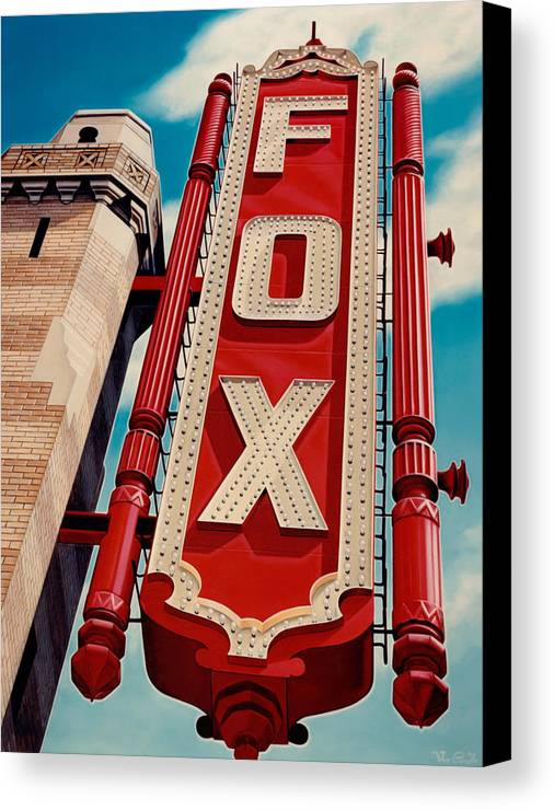 Cityscape Canvas Print featuring the painting The Fox Theater by Van Cordle