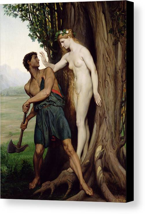 The Canvas Print featuring the painting The Hamadryad by Emile Bin