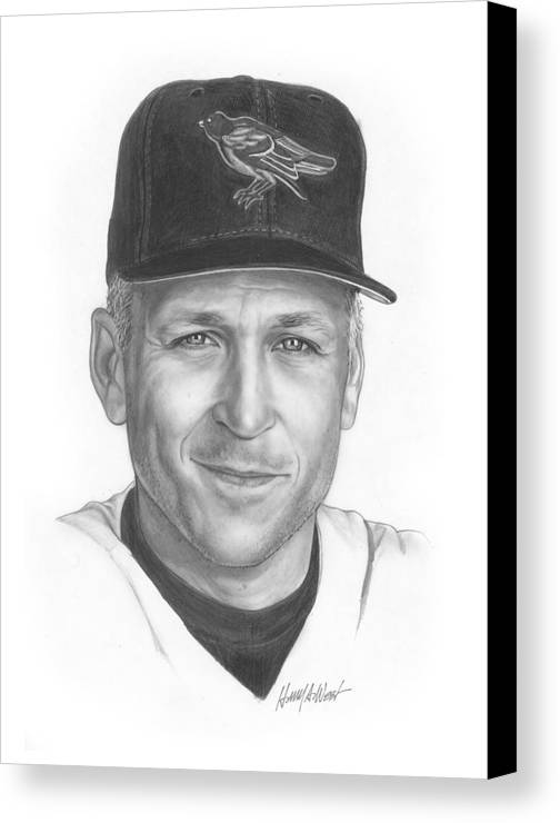 Cal Ripken Canvas Print featuring the drawing The Iron Man II by Harry West