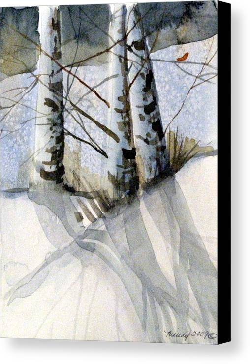 Birches Canvas Print featuring the painting The Tiny Bird by Mindy Newman