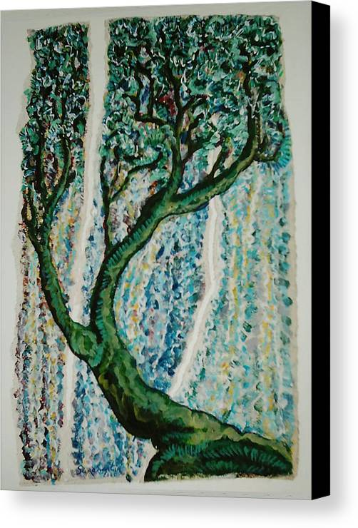 Tree Canvas Print featuring the painting The Tree Energy by Helene Champaloux-Saraswati