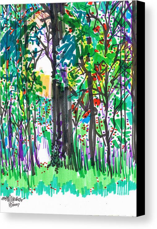 Forest Canvas Print featuring the drawing Thicket by Seth Weaver