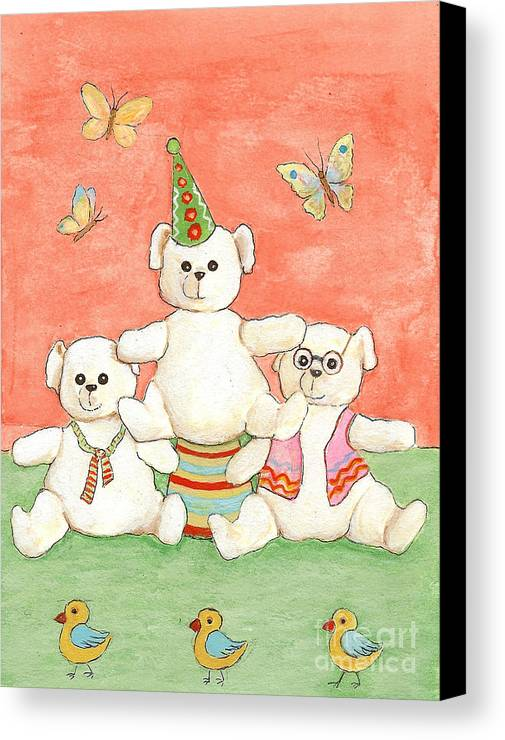 Bears Canvas Print featuring the painting Three Bears Ready For The Party by Nareeta Martin