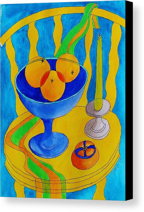 Colorful Canvas Print featuring the painting Three Oranges by Lou Cicardo