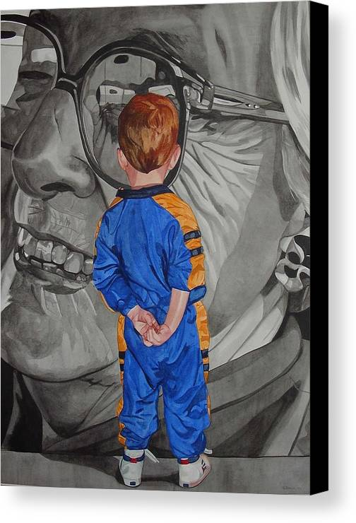 Children Canvas Print featuring the painting Timeless Contemplation by Valerie Patterson