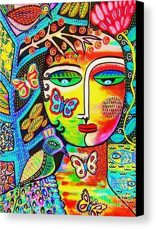Women Canvas Print featuring the painting Tree Of Life Paradise Goddess by Sandra Silberzweig