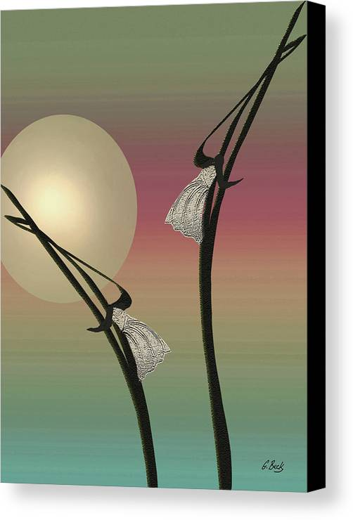 Contemporary Asian Japanese Oriental Abstract Design Moon Peaceful Graceful G. Canvas Print featuring the painting Tropic Mood by Gordon Beck
