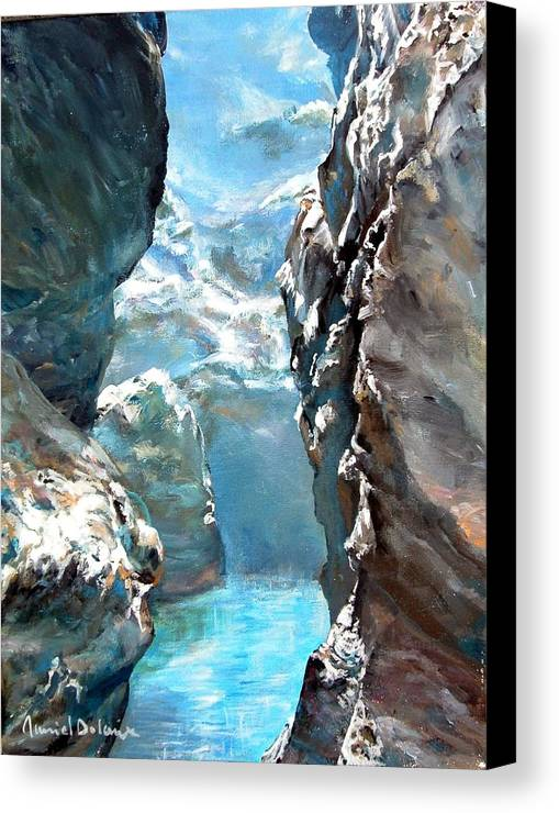 Landscape Canvas Print featuring the painting Trouee 3 by Muriel Dolemieux