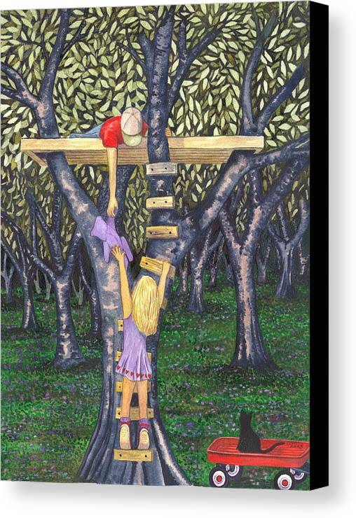 Children Canvas Print featuring the painting Trust by Catherine G McElroy