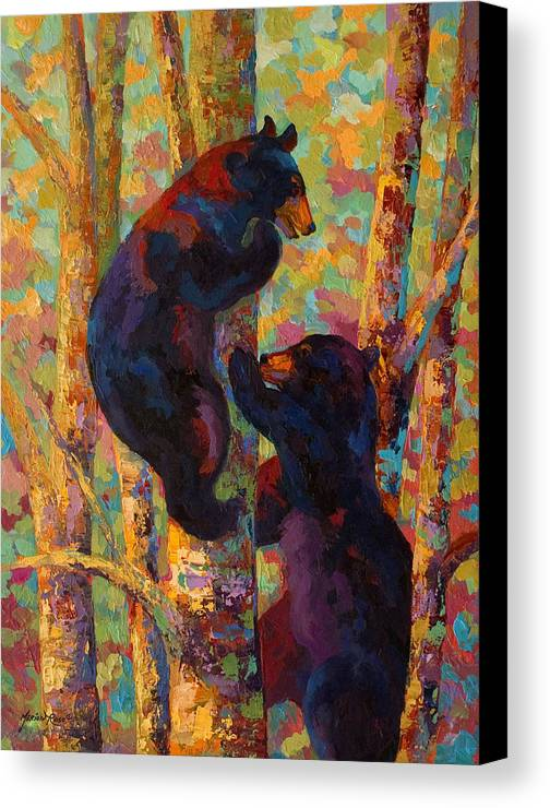 Bear Canvas Print featuring the painting Two High - Black Bear Cubs by Marion Rose