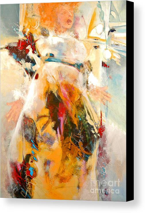 Figure Canvas Print featuring the painting Unseeing Singer by Dale Witherow