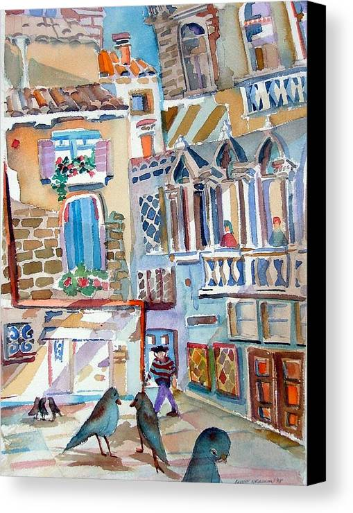 Venice Canvas Print featuring the painting Venice Is Sinking by Mindy Newman