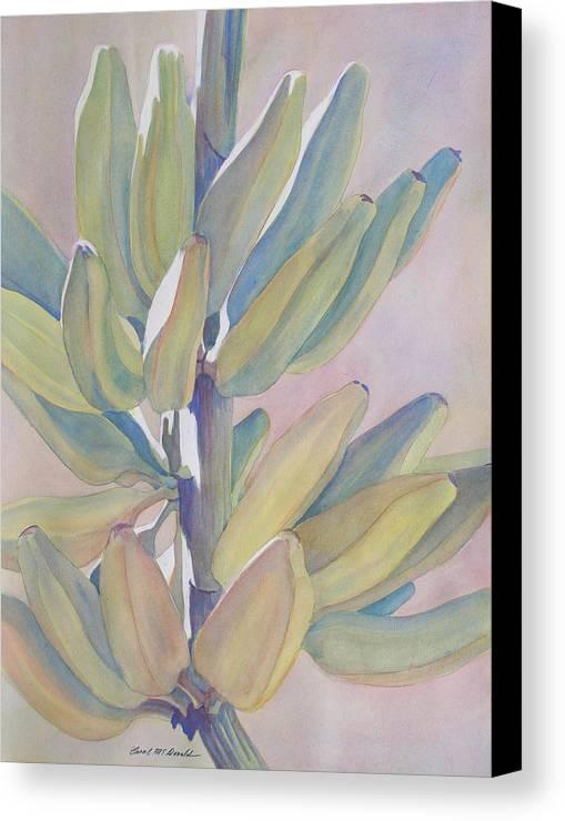Bananas Canvas Print featuring the painting Vertical Banana Bunch by Carol McDonald