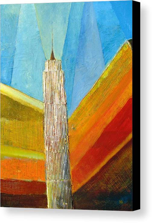 Abstract Cityscape Canvas Print featuring the painting View From 34th St by Habib Ayat