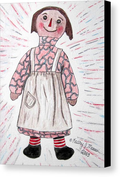 Vintage Canvas Print featuring the painting Vintage Volland Raggedy Ann Cloth Doll by Kathy Marrs Chandler