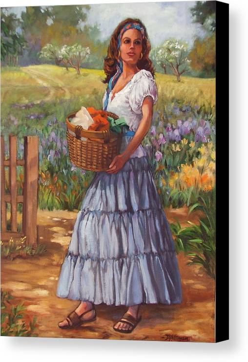 Female Figure Canvas Print featuring the painting Wash Day by Dianna Willman