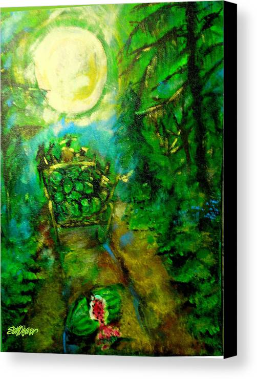 Watermelon Wagon Moon Canvas Print featuring the painting Watermelon Wagon Moon by Seth Weaver