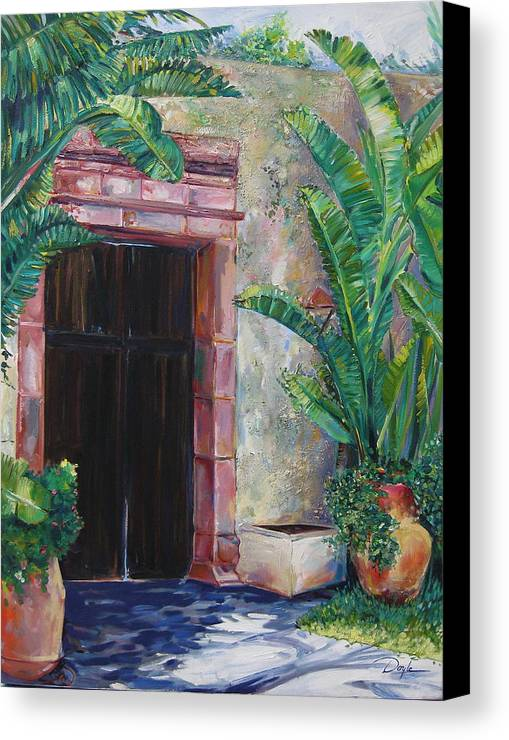 Building Canvas Print featuring the painting Way To The Beach by Karen Doyle