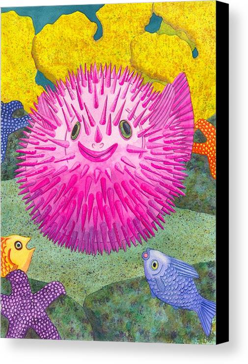 Puffer Fish Canvas Print featuring the painting Where's Pinkfish by Catherine G McElroy