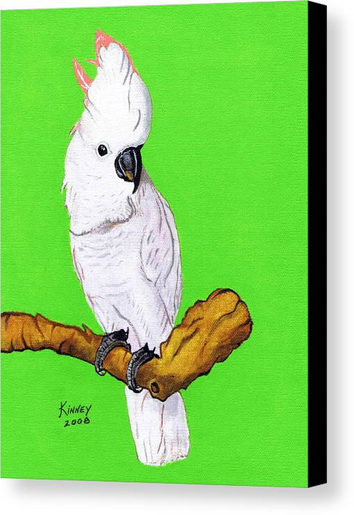 Parrot Canvas Print featuring the painting White Cockatoo by Jay Kinney