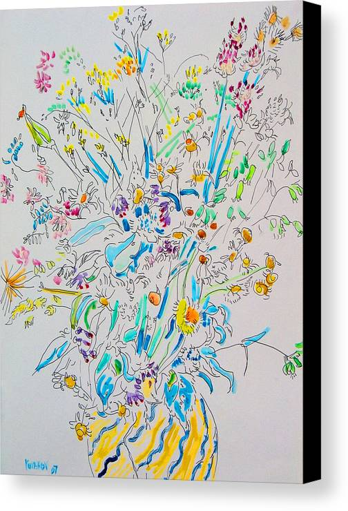 Wild Canvas Print featuring the painting Wild Flowers by Vitali Komarov