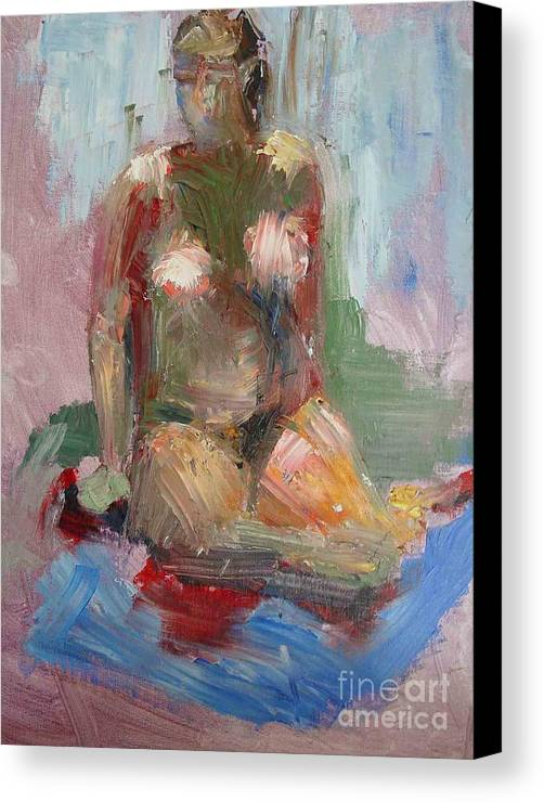 Contemporary Female Nude Canvas Print featuring the painting Woman           Copyrighted by Kathleen Hoekstra