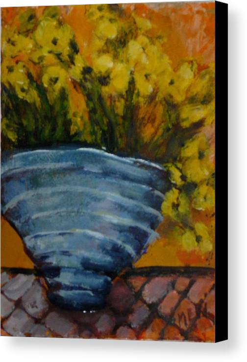 Impressionism Canvas Print featuring the painting Yellow Flowers by Juliet Mevi