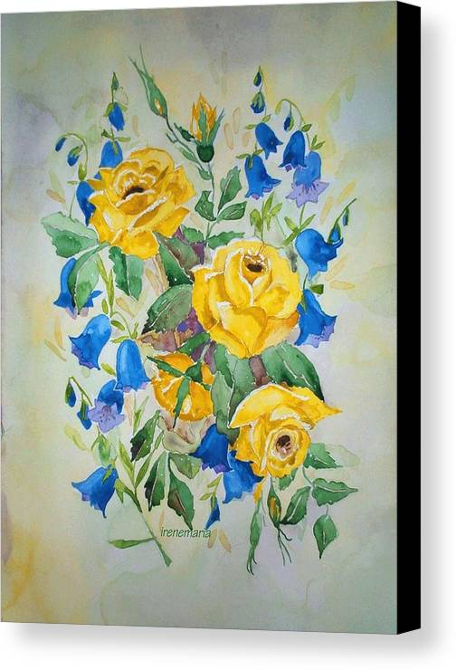 Roses Flowers Canvas Print featuring the painting Yellow Roses And Blue Bells by Irenemaria