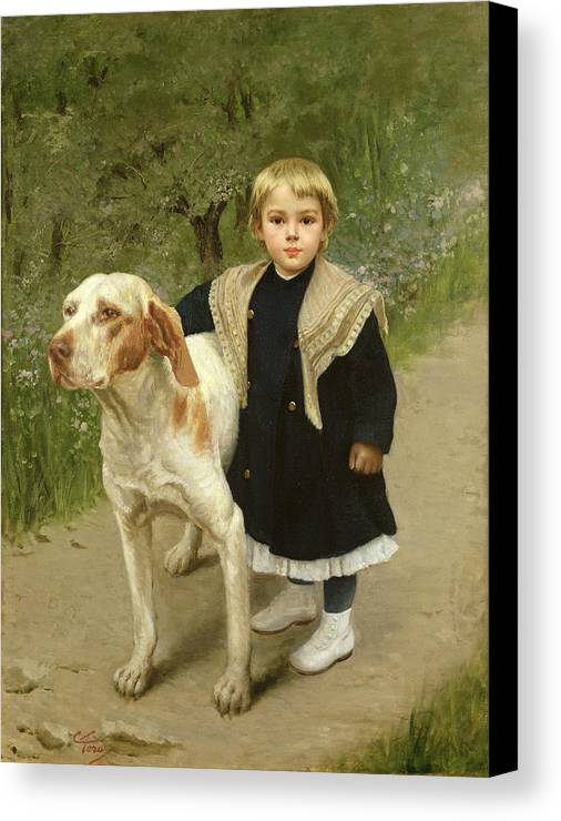Young Canvas Print featuring the painting Young Child And A Big Dog by Luigi Toro