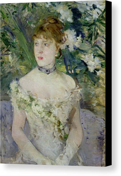 Young Canvas Print featuring the painting Young Girl In A Ball Gown by Berthe Morisot