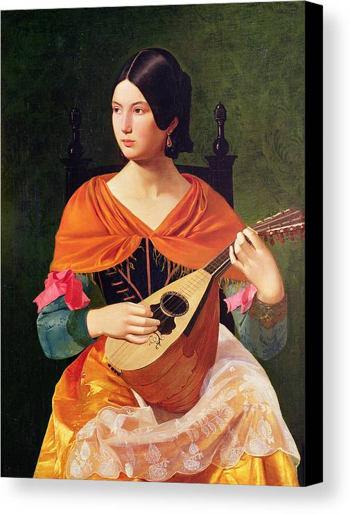Young Woman With A Mandolin Canvas Print featuring the painting Young Woman With A Mandolin by Vekoslav Karas