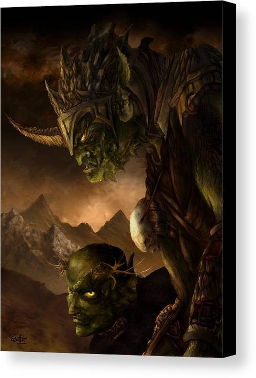 Goblin Canvas Print featuring the mixed media Bolg The Goblin King by Curtiss Shaffer
