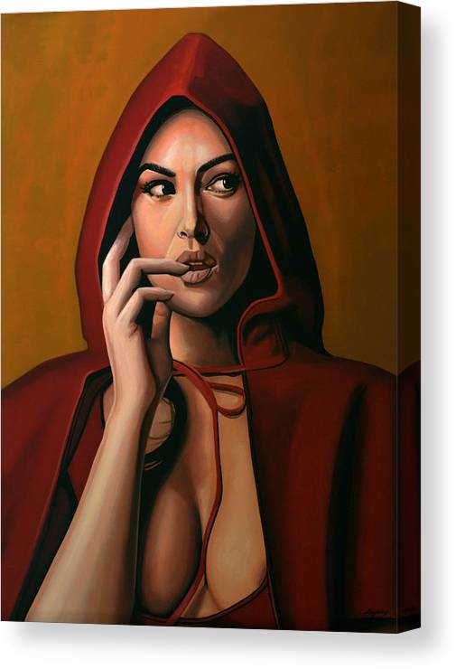 Monica Bellucci Canvas Print featuring the painting Monica Bellucci by Paul Meijering