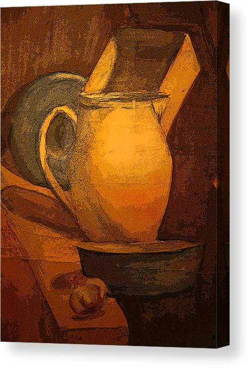 Canvas Print featuring the painting Still Life by Jolanta Erlate