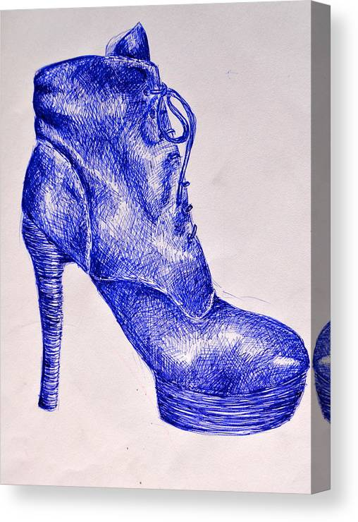 Blue Ink Canvas Print featuring the painting The Shoe by Celina Frisson