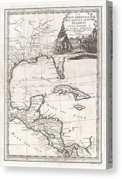 1798 Cassini Map Of Florida Louisiana Cuba And Central America
