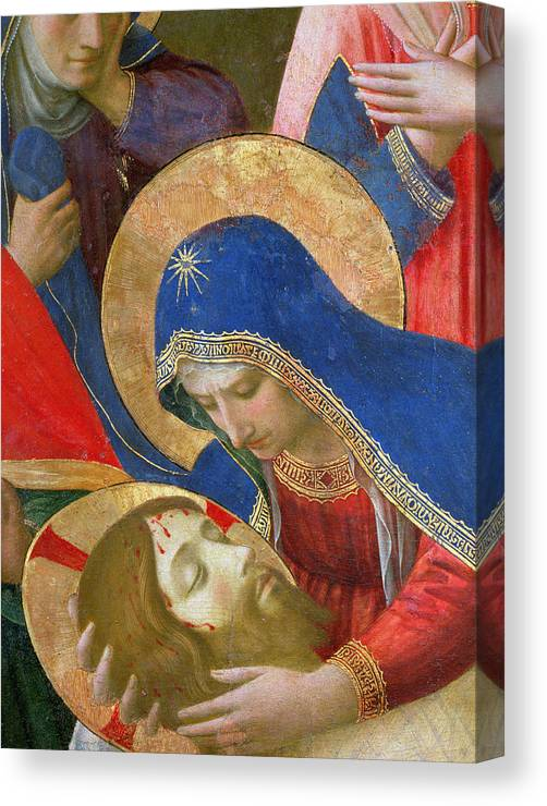 Son Of God Canvas Print featuring the painting Lamentation Over The Dead Christ by Fra Angelico