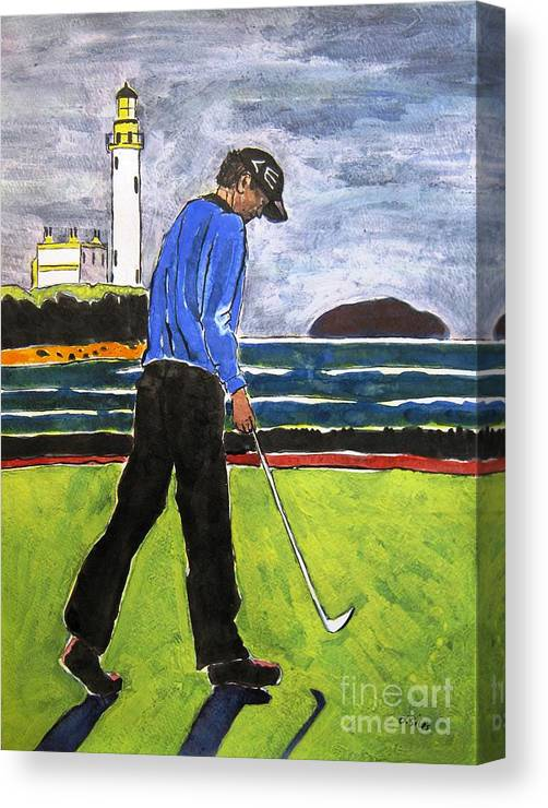 Golf Art Canvas Print featuring the painting Tom Watson Turnberry 2009 by Lesley Giles