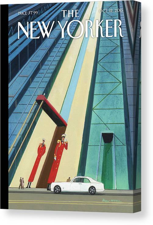 Buildings Canvas Print featuring the painting New Yorker October 12th, 2015 by Bruce McCall